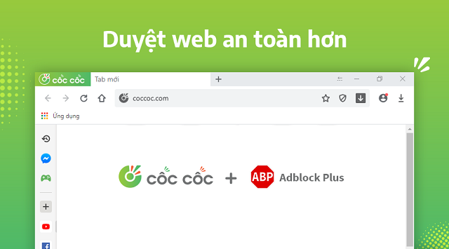 Coccoc kết hợp với Adblock Plus